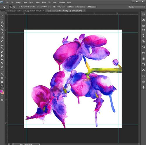 Digital Fabrics_cushion cover tutorial_orchid_photoshop_design_print_purple_pink_watercolour