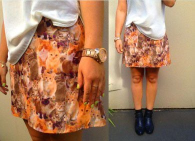 skirt with cats_custom skirt_cats printed on fabric_cat fabric_custom fabric printing