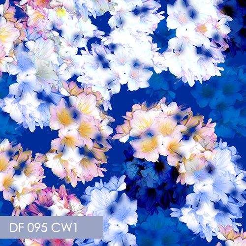 floral fabric design, fabric printing, blue floral fabric, Digital Fabrics