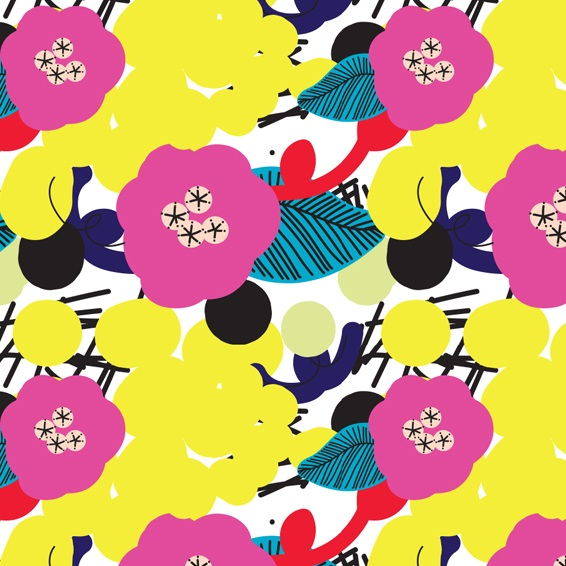 Cheery fabric, floral happy fabric, pink fabric, live colorful, digital fabrics