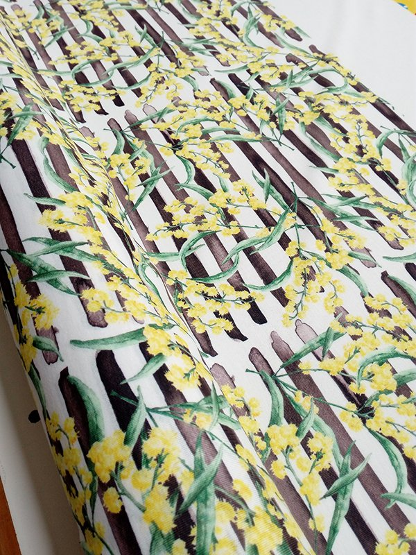 wattle design fabric, yellow and black fabric, jersey fabric, custom fabric printing