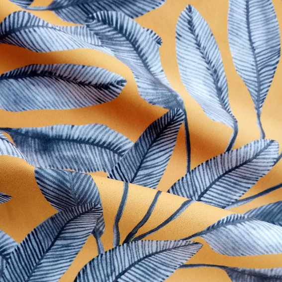 Digital Fabrics_custom fabric printing_animalistic innocence_jungle print_mustard leaves design_2