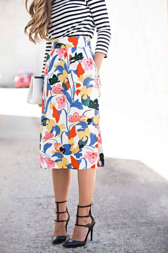Pencil Floral Skirt Idea