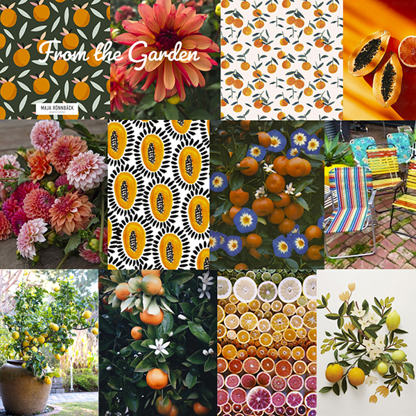 """""""From The Garden Collection"""" mood board"""