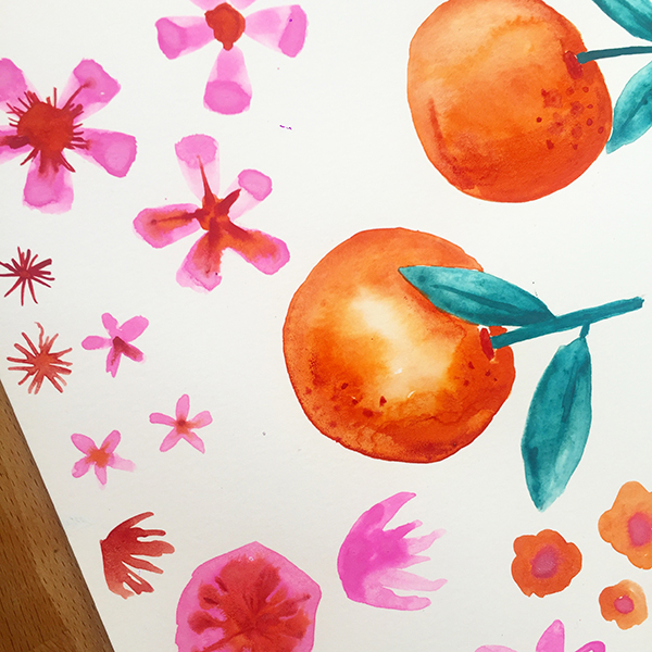 clementine  rose Hand painted artwork