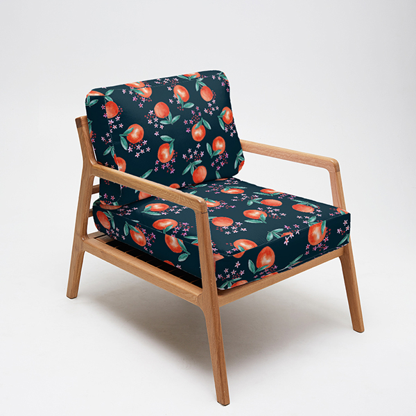 """""""Clementine Rose"""" fabric design used to upholster a chair"""