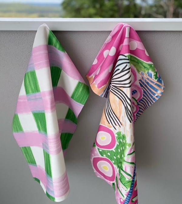 Custom printed and made tea towels for artist Samantha Hobbelen