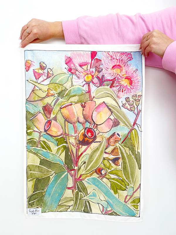 Custom tea towels printed and made for Sancha Prowse Art